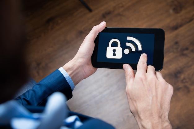 Ikona Sieci Bezprzewodowej. Wifi Jest Zablokowane Ilustracja 3d Premium Zdjęcia