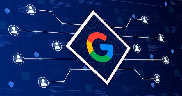 Ikona sieci społecznościowej gmail łącząca system z innymi użytkownikami na tle technologicznym z elementami kodu 3d