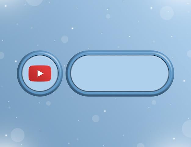 Ikona sieci społecznościowej youtube z pustym formularzem informacji lub linku na stronie użytkownika 3d