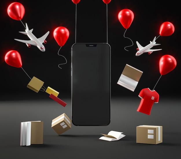 Ikona smartfona do sprzedaży w czarny piątek