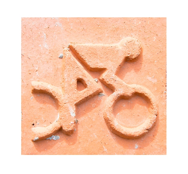 Ikona sportu wypalanej gliny płytki projektowania. jazda rowerem.