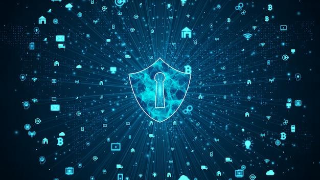 Ikona tarczy bezpiecznej sieci danych, bezpieczeństwa cybernetycznego i ochrony sieci informacyjnej, sieć technologii przyszłości dla koncepcji marketingu biznesowego i internetowego.