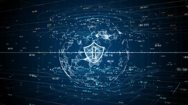 Ikona tarczy cyberbezpieczeństwa danych cyfrowych, ochrona sieci danych cyfrowych
