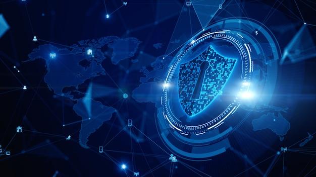 Ikona tarczy cyberbezpieczeństwo, ochrona sieci danych cyfrowych, połączenie technologii cyfrowej sieci danych przyszłości