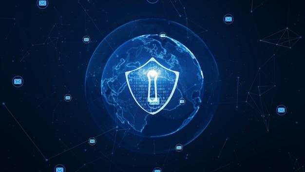 Ikona tarczy i e-maila w bezpiecznej globalnej sieci