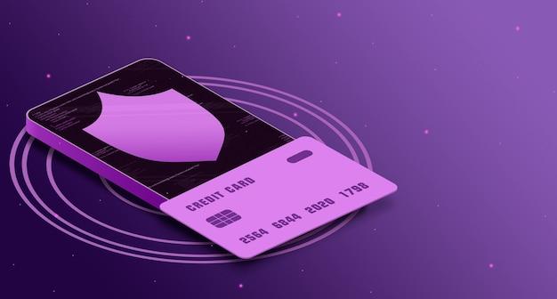 Ikona tarczy z kartą kredytową w telefonie z elementami kodu, bezpieczeństwo płatności 3d