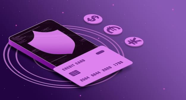 Ikona tarczy z kartą kredytową w telefonie z elementami kodu obok ikon walut, bezpieczeństwo płatności 3d