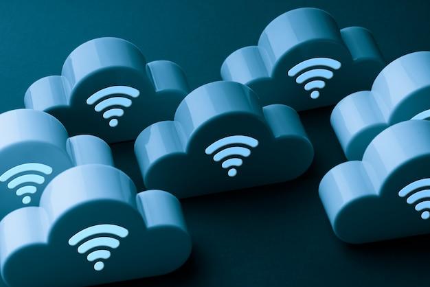 Ikona Technologii Chmury Na Kolorowym I Kreatywnym Tle Koncepcji Online I Offline Premium Zdjęcia