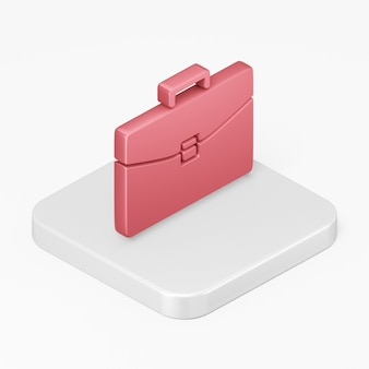 Ikona teczki czerwony biznes w 3d renderowania elementu interfejsu ui ux