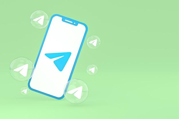 Ikona telegramu na ekranie smartfona lub telefonu komórkowego renderowania 3d