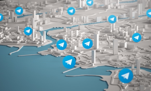 Ikona telegramu z lotu ptaka renderowania 3d budynków miejskich