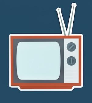 Ikona telewizji na białym tle