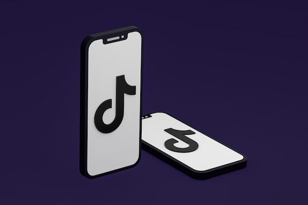 Ikona tiktok na ekranie smartfona lub telefonu komórkowego renderowania 3d