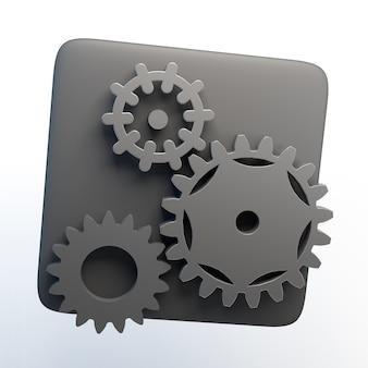 Ikona ustawień z biegami na na białym tle. ilustracja 3d. aplikacja.