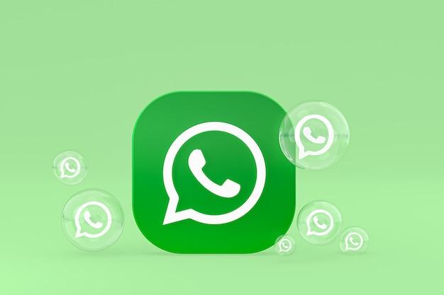 Ikona whatapps na ekranie smartfona lub telefonu komórkowego renderowania 3d na zielonym tle