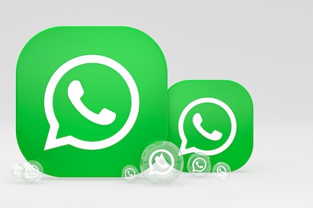 Ikona whatapps na ekranie smartfona lub telefonu komórkowego renderuje 3d na szarym tle