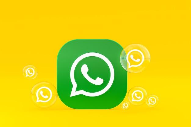 Ikona whatapps na ekranie smartfona lub telefonu komórkowego renderuje 3d na żółtym tle