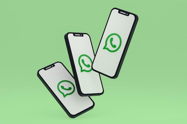 Ikona whatsapp na ekranie smartfona lub telefonu komórkowego renderowania 3d