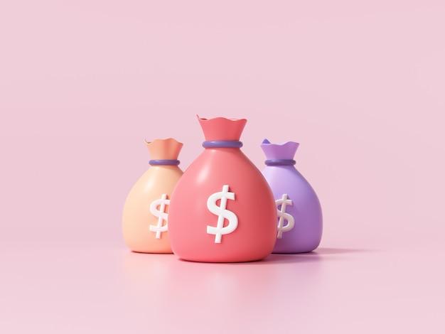 Ikona worki pieniędzy, koncepcja oszczędzania pieniędzy. różnica worków pieniędzy na różowym tle. ilustracja renderowania 3d