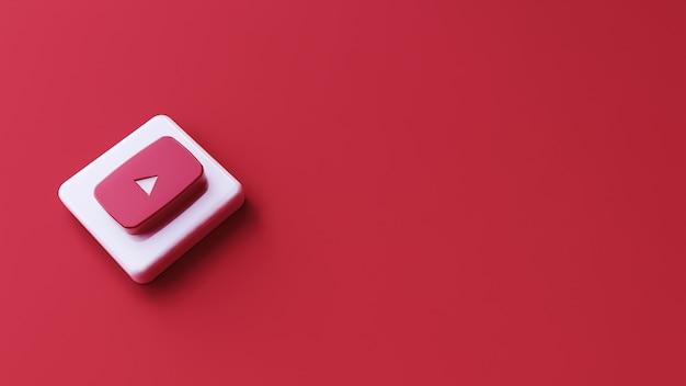 Ikona youtube na czerwonej powierzchni