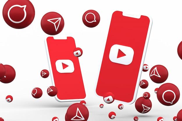 Ikona youtube na ekranie smartfona lub telefonu komórkowego i reakcje youtube wywołać na białym tle