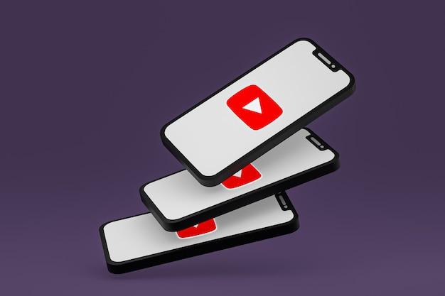 Ikona youtube na ekranie smartfona lub telefonu komórkowego renderowania 3d