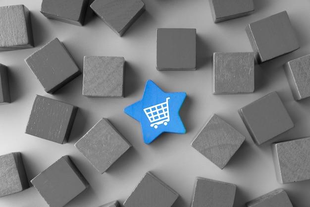 Ikona zakupy online na kostce kolorowe puzzle