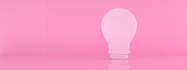 Ikona żarówki na różowym tle, renderowanie 3d, panoramiczna makieta z miejscem na tekst