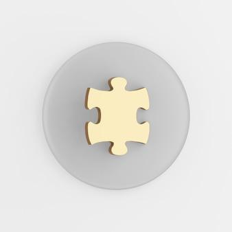 Ikona złotej układanki. 3d renderowania szary okrągły przycisk klucza, element interfejsu użytkownika interfejsu użytkownika.