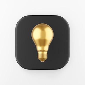 Ikona złotej żarówki realistyczne. 3d renderowania czarny kwadratowy przycisk klucza, element interfejsu ui ux.