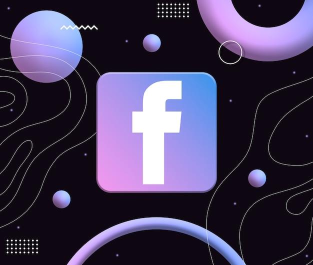 Ikonka logo facebooka na tle estetycznych neonowych kształtów 3d