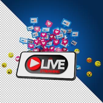 Ikony emocji i znak strumienia live. streaming do sprzedaży produktu w mediach społecznościowych. koncepcja zakupów online, renderowanie 3d