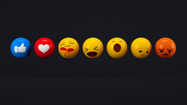 Ikony i emotikony do głosowania na media społecznościowe na czarnym tle