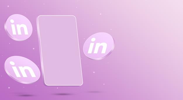 Ikony linkedin z renderowaniem 3d telefonu komórkowego