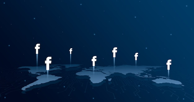 Ikony logo facebooka na wszystkich kontynentach mapy świata 3d