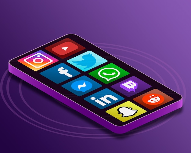 Ikony logo mediów społecznościowych na ekranie telefonu 3d