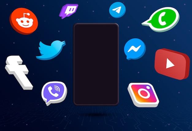 Ikony logo mediów społecznościowych wokół telefonu z pustym ekranem na tle technologii 3d