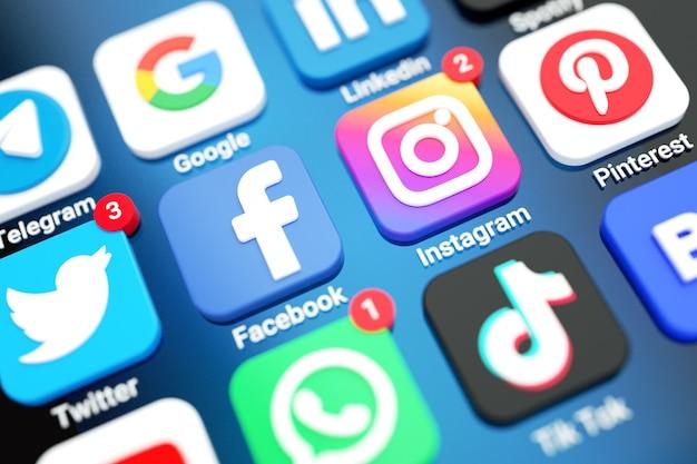 Ikony mediów społecznościowych i aplikacje logo na ekranie telefonu komórkowego 3d