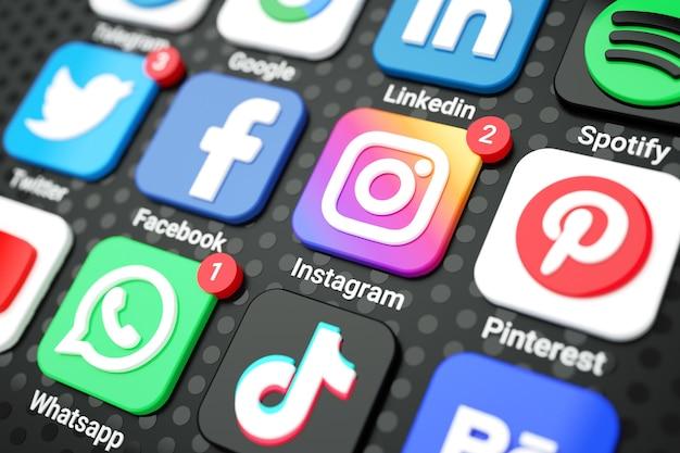 Ikony mediów społecznościowych i logo na ekranie telefonu komórkowego 3d