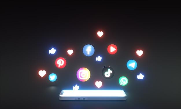 Ikony mediów społecznościowych i logo wokół smartfona 3d neon świecący styl z miejscem na kopię tekstu