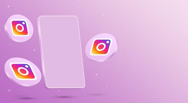 Ikony na instagramie z renderowaniem 3d telefonu komórkowego