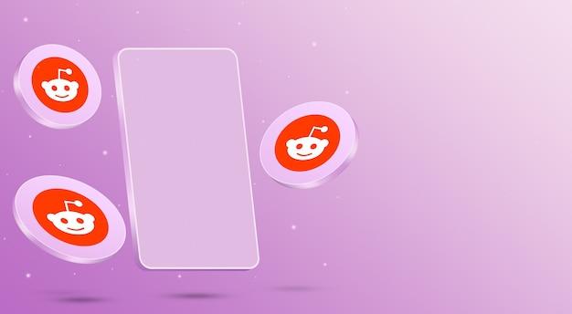 Ikony reddit z renderowaniem 3d telefonu komórkowego