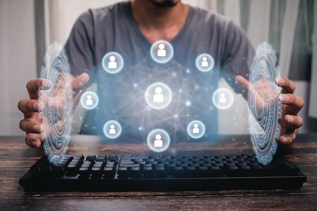Ikony sieci społecznościowych pokazują kontakty komunikacyjne. ilustracja