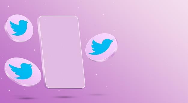 Ikony twittera z renderowaniem 3d telefonu komórkowego