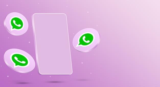 Ikony whatsapp z renderowaniem 3d telefonu komórkowego