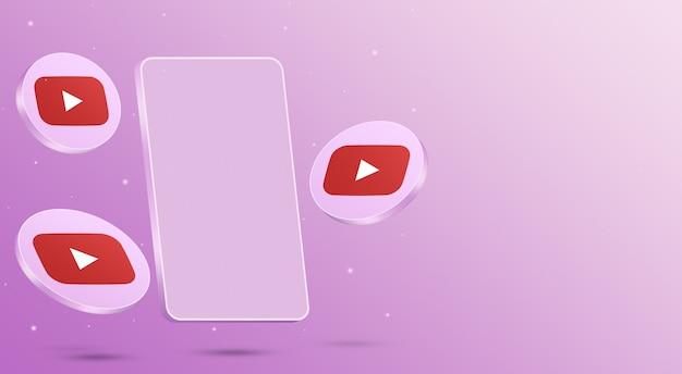 Ikony youtube z renderowaniem 3d telefonu komórkowego