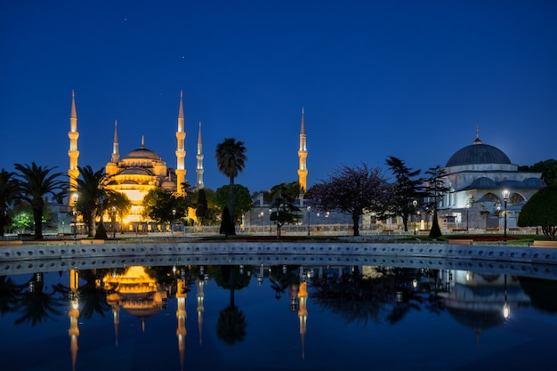 Illuminated blue lub sultan ahmed mosque