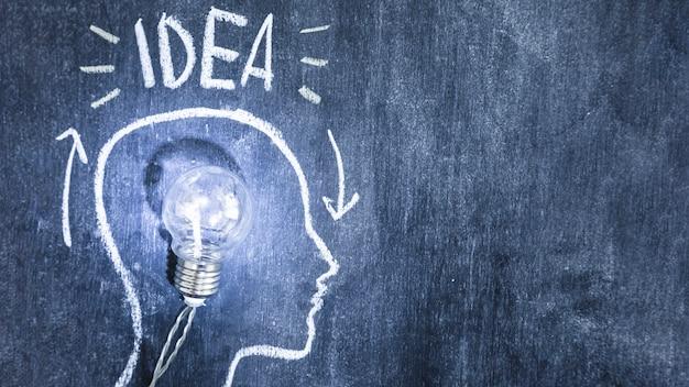 Iluminująca żarówka wśrodku kontur twarzy rysującej z kredą na blackboard
