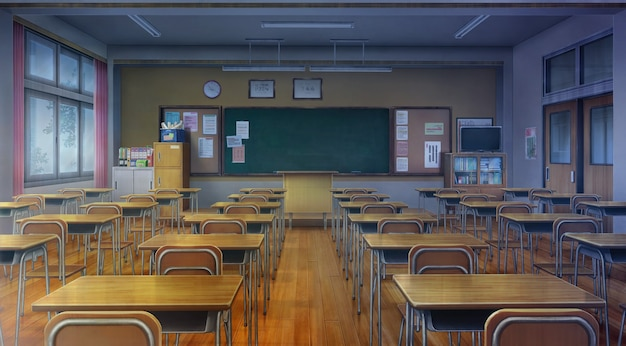 Ilustracja 2d sali lekcyjnej z zachmurzeniem.