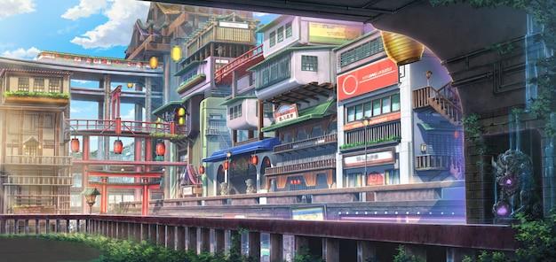 Ilustracja 2d starego miasta fantasy w ciągu dnia.